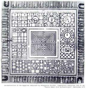 Reconstruction of the Egyptian Labyrinth by Athanasius Kircher (copper-plate engraving) 1670