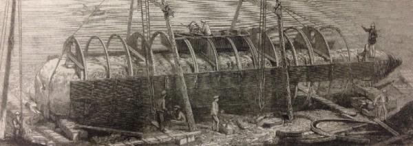 "cylinder ship ""Cleopatra"" around the Egyptian obelisk"